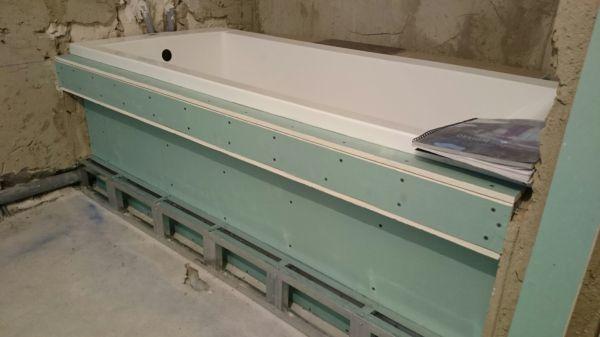 Отделка ванной с обшивкой из гипсокартона