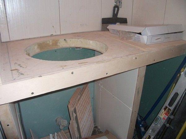 Столешница в ванную из гипсокартона – дешево и красиво!