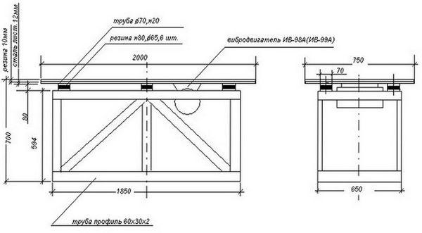 Чертеж простого вибростола для плитки