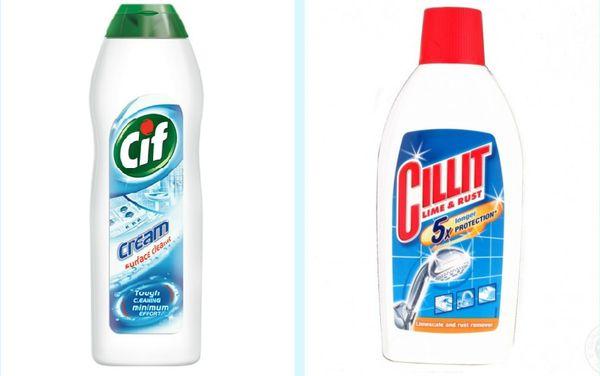 бытовые средства Cif и Sillit