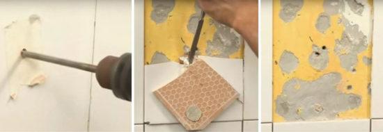 Удаление дефектного листа из кафельного покрытия