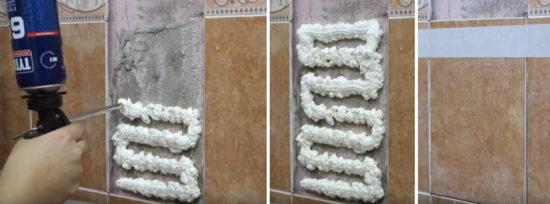 Наклейка плитки на цемент