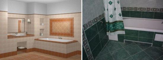 Варианты раскладки керамики в ванных комнатах
